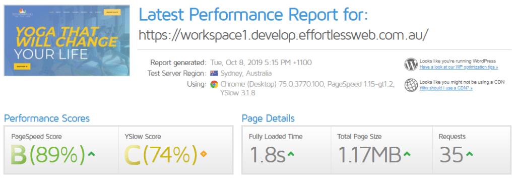 New website performance